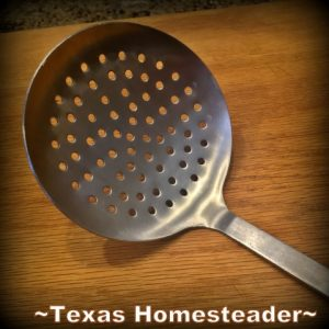 Large Skimmer Ladle. Must-Have gifts For Cooks. Come see the most used tools in my homestead kitchen. I always opt for tools that make cooking easier. #TexasHomesteader