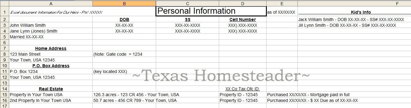 Documenting personal information. Don't leave your heirs in the dark! Now's the time to document those important numbers. This easy estate planning step will help after your death #TexasHomesteader