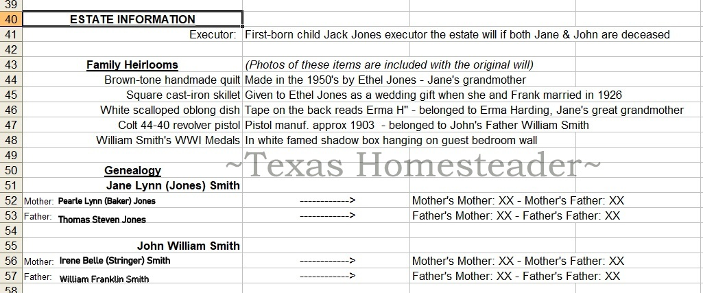 Documenting estate information. Don't leave your heirs in the dark! Now's the time to document those important numbers. This easy estate planning step will help after your death #TexasHomesteader