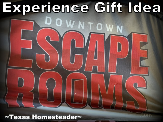 We try to give only experience gifts where possible. This year we gifted our grandkids an escape room experience. We all had a blast! #TexasHomesteader