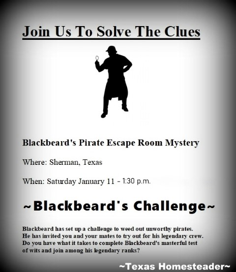 Escape room invitation. We try to gift experience gifts where possible. This year we gifted our grandkids an escape room experience. We all had a blast! #TexasHomesteader