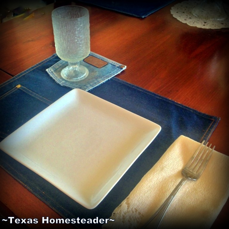 I have these homemade denim pocket coasters all over our house, even on our dining room table. #TexasHomesteader