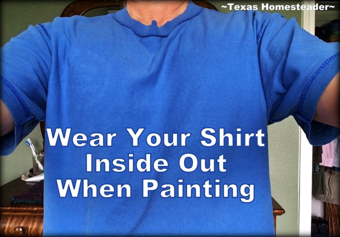 Don't ruin your clothes just because you need to paint. Wear your clothes inside out when painting! No need to scrub or just throw away - any paint splatters will be on the underside where they can't be seen. #TexasHomesteader