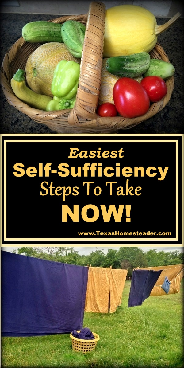 Easiest Self-Sufficiency and preparedness Steps - Many are trying to practice self sufficiency these days. Come see how to save money on groceries, necessities, and make things yourself #TexasHomesteadery on necessities, and make things yourself #TexasHomesteader