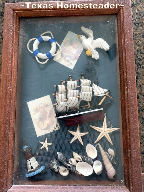 Nautical themed shadow box key holder. I made this sentimental gift for my mother using just what we had at the house. I designed an arrowhead cross to go into a frame that was painted & distressed #TexasHomesteader
