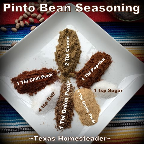 Easy Pinto Bean Seasoning Mix. It's super easy to cook Instant Pot Pinto Beans. And I often cook a whole bag. You'd be surprised at the many ways to serve them. #TexasHomesteader