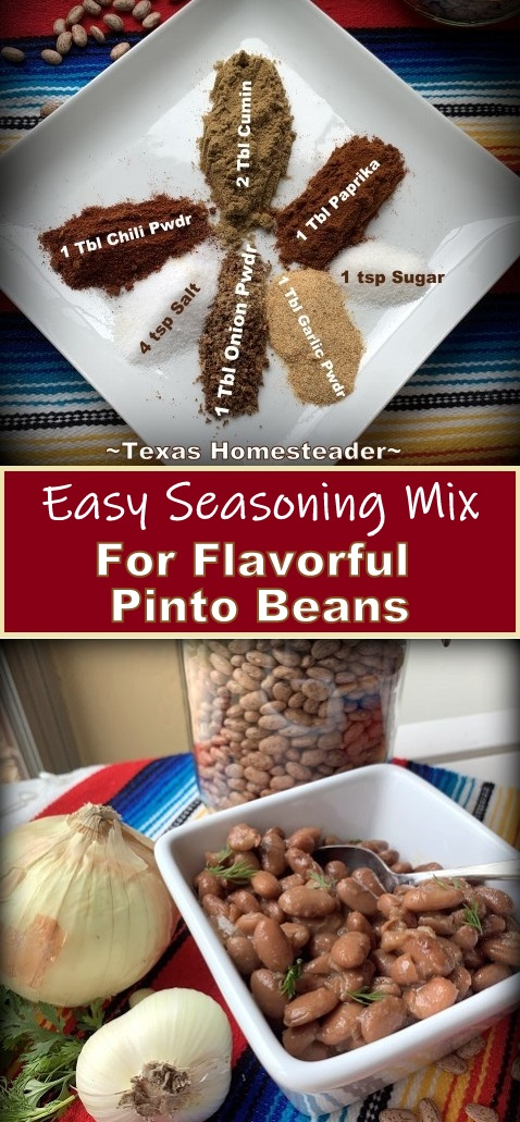 it's easy to make your own pinto bean seasoning mix. Just add a few ingredients into a jar and shake to blend. Easy! #TexasHomesteader