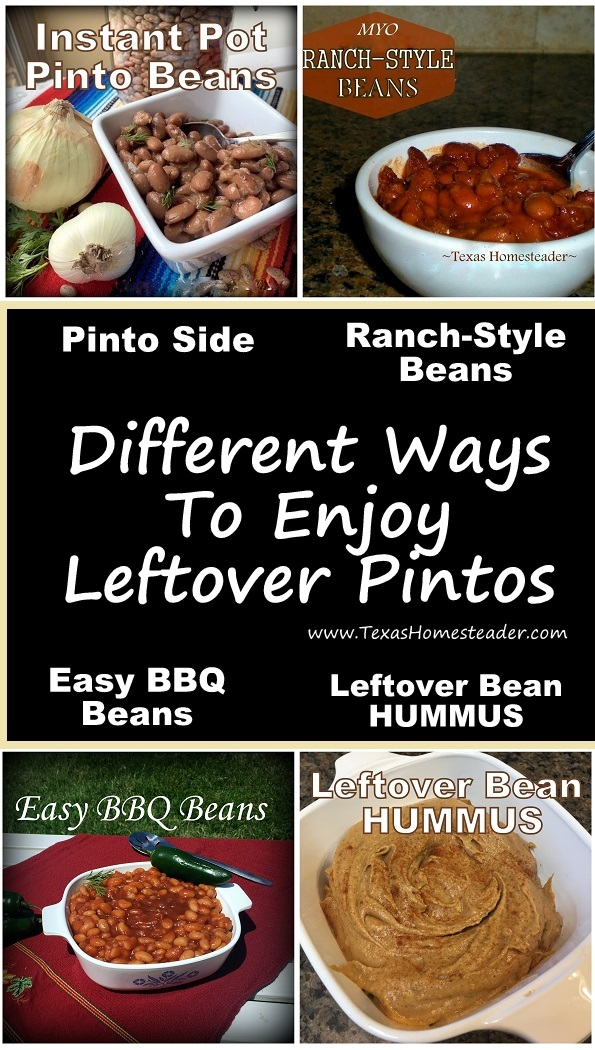 Different ways to enjoy leftover pinto beans - Ranch-Style beans, BBQ beans, hummus #TexasHomesteader