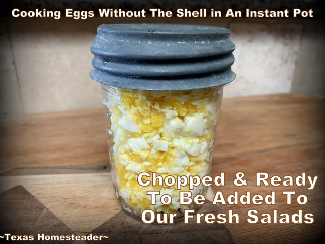 Chopped boiled eggs, ready for salad. If you want to make boiled eggs for egg salad or potato salad, I can show you how to cook them in an Instant Pot - WITHOUT the shells! #TexasHomesteader