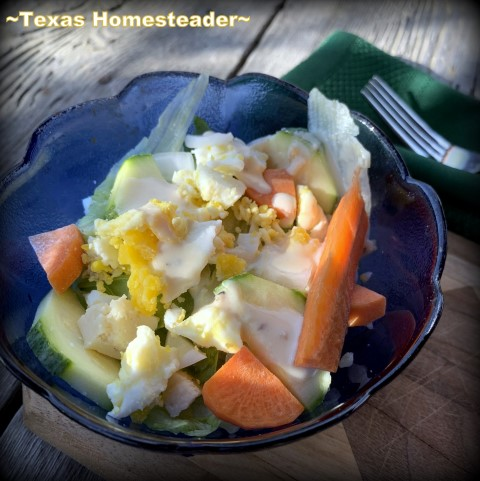 Creamy salad dressing is made in one minute or less for a healthy start to any meal. #TexasHomesteader