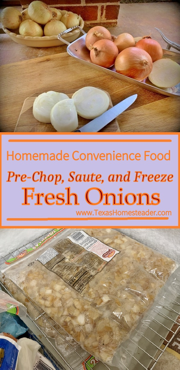 Saute & freeze onions for your own convenience food right in your own freezer. I scored them to make it easier to break off pieces. #TexasHomesteader