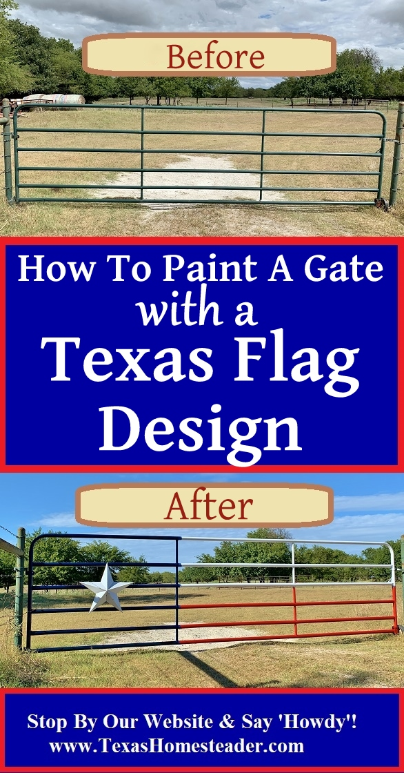 How To Paint A Texas Flag Gate. It was a quick and enjoyable project. And I love the way our gate painted in a Texas flag design looks. #TexasHomesteader