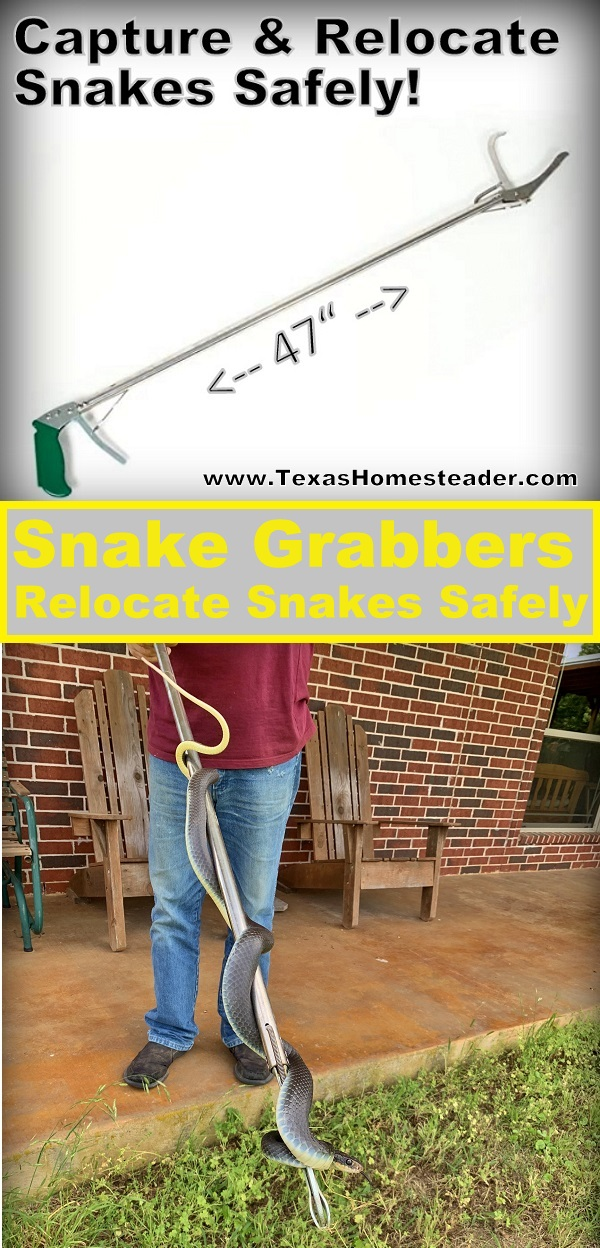 "Easily capture and relocate a snake, but do it safely. We've found the 47"" snake grabber to be the best tool to relocate snakes safely. #TexasHomesteader"
