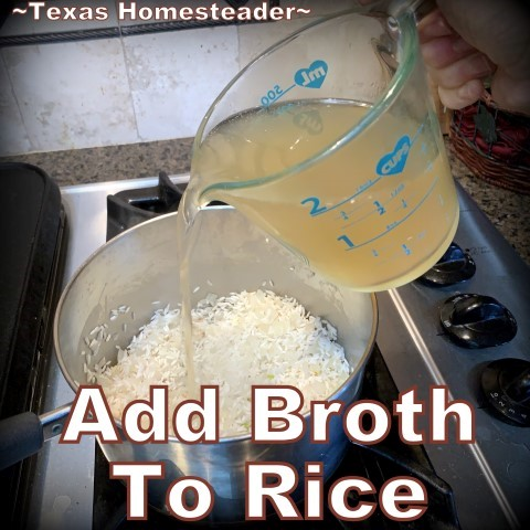 Add broth to rice. This is the easiest Texas-Style Spanish Rice recipe ever. Long-grain rice, chunky picante salsa, onions, garlic & broth. #TexasHomesteader