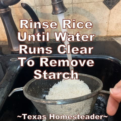 Rinse rice to remove starches. This is the easiest Texas-Style Spanish Rice recipe ever. Long-grain rice, chunky picante salsa, onions, garlic & broth. #TexasHomesteader
