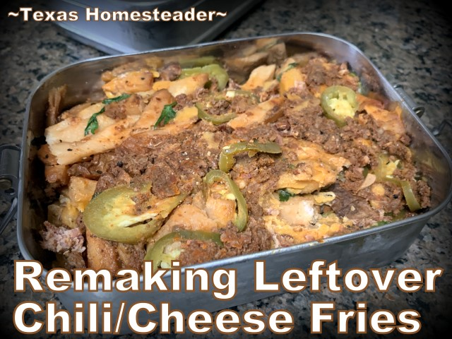 What can you do with leftover chili-cheese fries? I make them into a delicious frittata. Good food you can eat with one hand! #TexasHomesteader