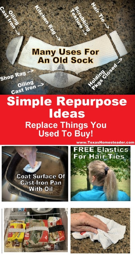 Who knew there were so many handy ways to repurpose an old sock to replace what you used to buy??!! #TexasHomesteader