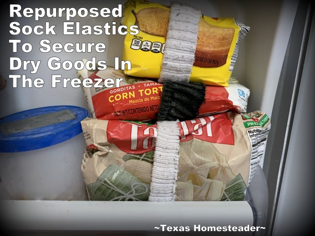 Securing packages of food in the freezer. 5 simple ways to repurpose an old sock. Kitchen Scrubber, cast-iron care, ponytail holder, and MORE! #TexasHomesteader
