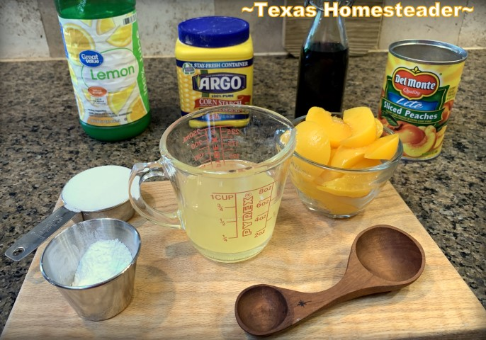 Homemade peach pie filling from a simple can of peaches. #TexasHomesteader