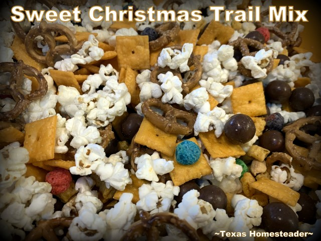 Sweetened popcorn made into Christmas trail mix for a fast last-minute gift. #TexasHomesteader