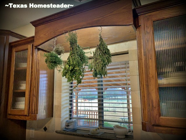 I'm sharing my herb-drying setup. I harvest fresh herbs and hang them over decorative hooks in my kitchen. #TexasHomesteader