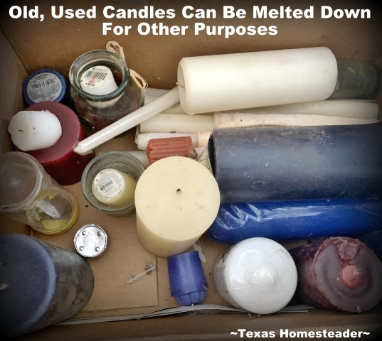 A box of old candles can be used to melt down into natural pinecone fire starters. #TexasHomesteader