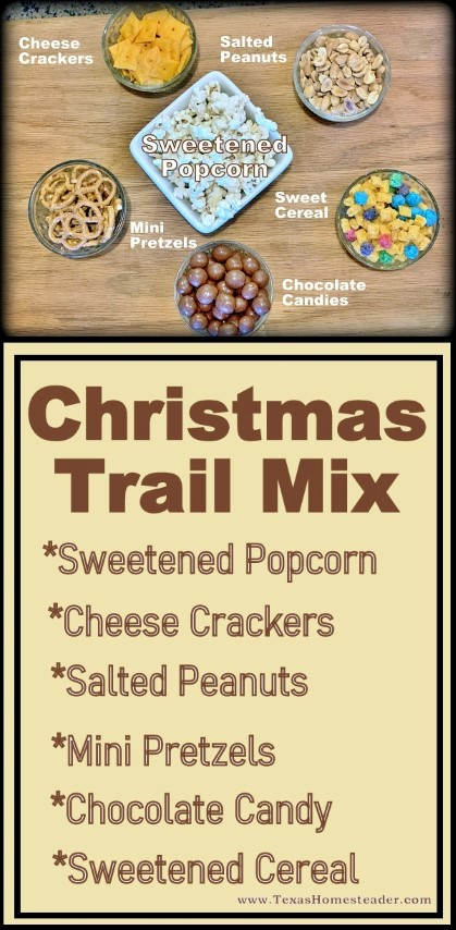 Sweetened popcorn can be quickly turned into a delicious Christmas trail mix for a last-minute gift. #TexasHomesteader