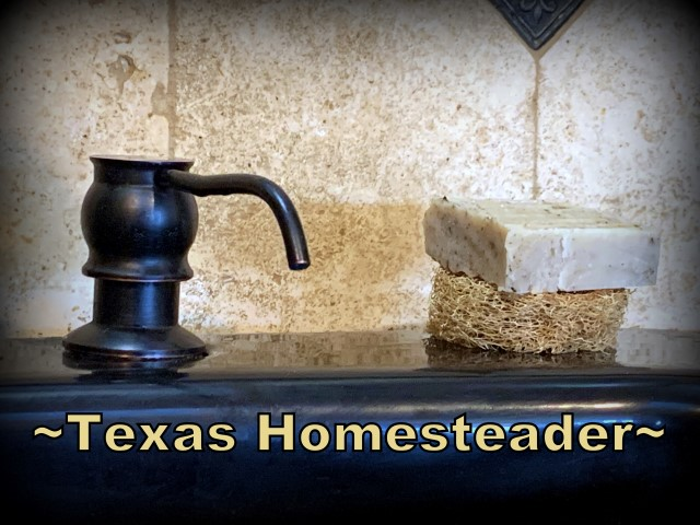 Luffa slice holds soap off the sink's surface. You can grow your own luffa sponge in your garden. They're easy to grow, eco friendly and fully compostable. #TexasHomesteader