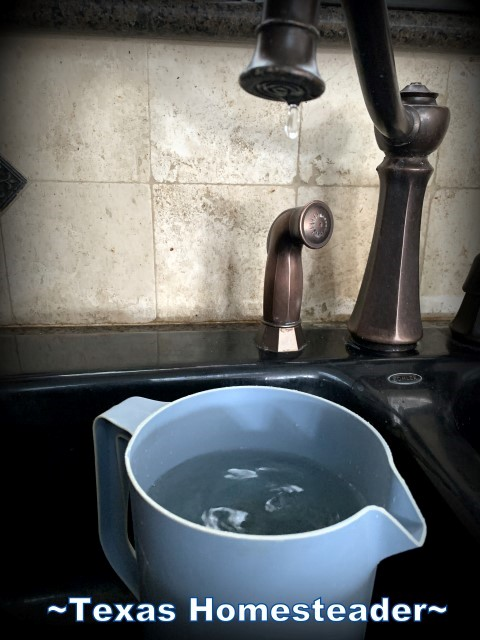 Dripping water from faucet and saved for drinking or toilet flushing. Many of this week's frugality was forced due to a winter storm. #TexasHomesteader