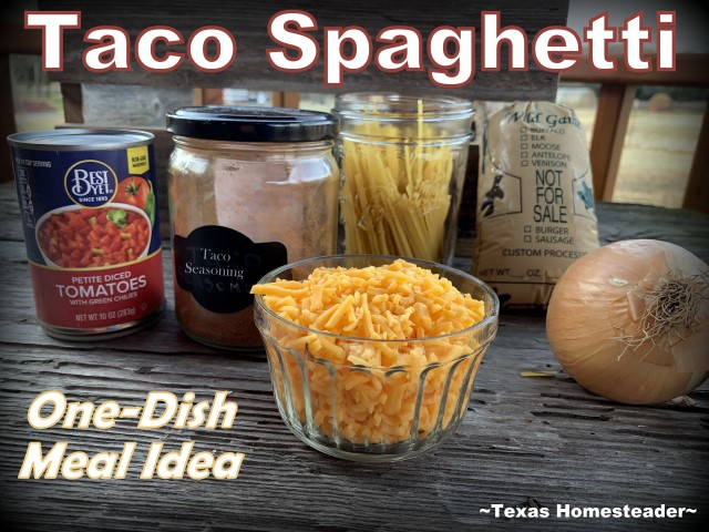 Taco Spaghetti Ingredients - ground meat, pasta, onion, rotel tomatoes, shredded cheese, taco seasoning. #TexasHomesteader