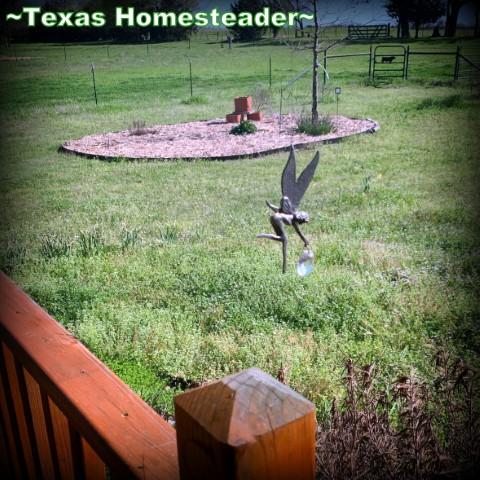 5 Frugal things - swinging figurine scares away birds. #TexasHomesteader