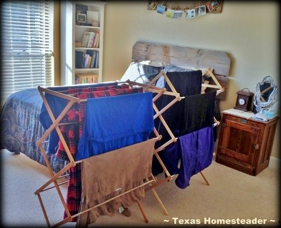 Folding racks dry clean laundry inside during periods of high allergen pollens. #TexasHomesteader