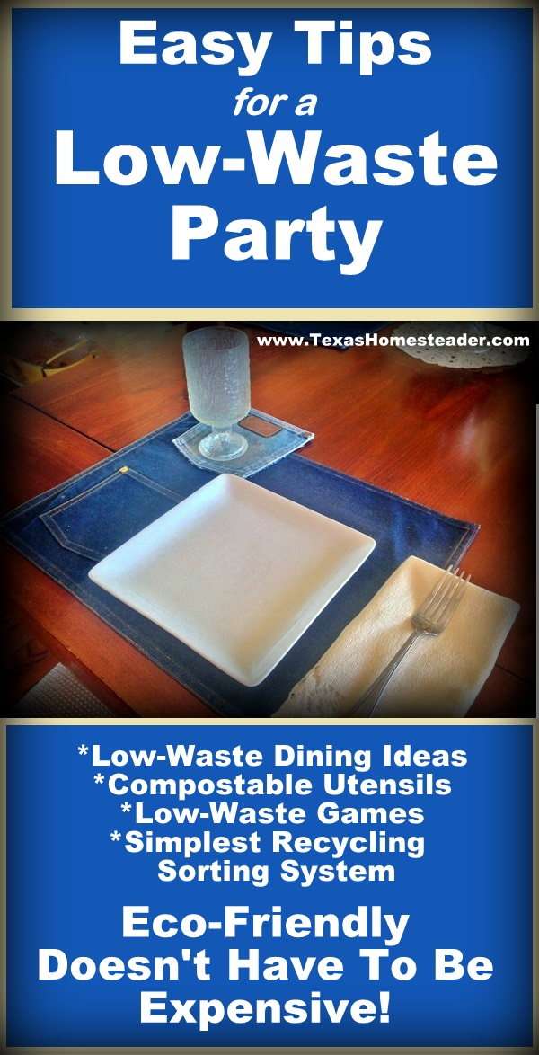Easy tips to throw a low-waste or zero-waste party for cheap. #TexasHomesteader