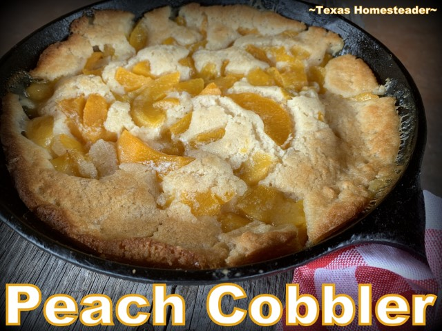 Peach cobbler baked in cast iron skillet using canned peaches. #TexasHomesteader
