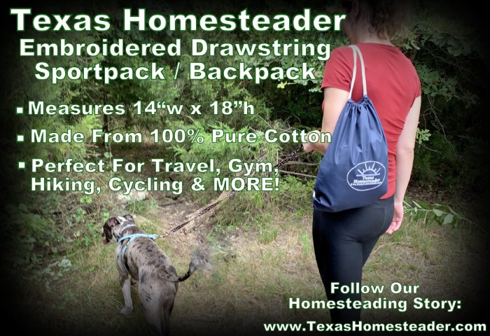 Blue cotton embroidered drawstring backpack hiking camping woman with red shirt holding leash to gray dog.