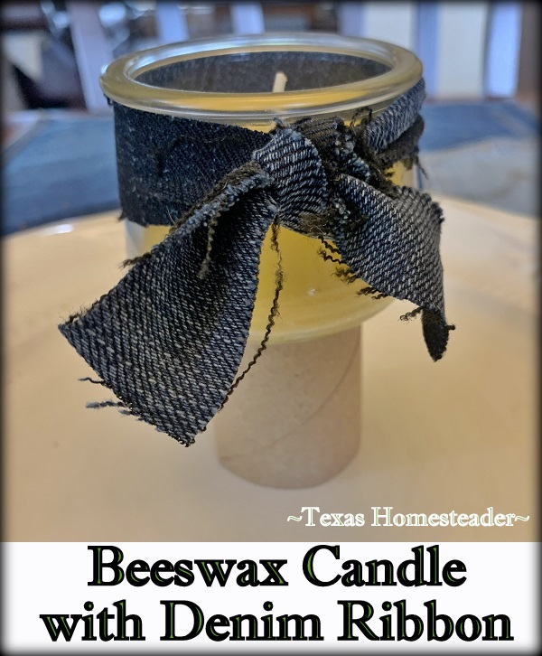 Beeswax candle with denim ribbon for natural decoration. #TexasHomesteader