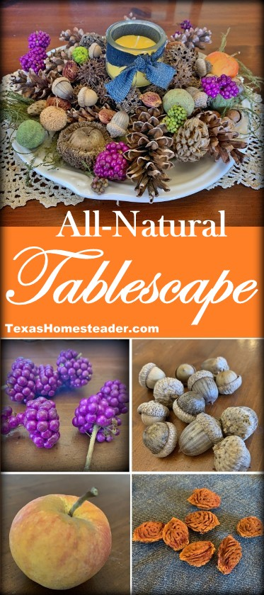 Natural Tablescape using Nature's beauty - acorns, pinecones, beautyberry and more - #TexasHomesteader