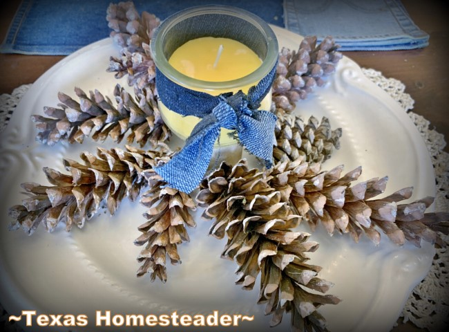 Beeswax candle with denim ribbon and pinecones on white platter for natural decoration. #TexasHomesteader